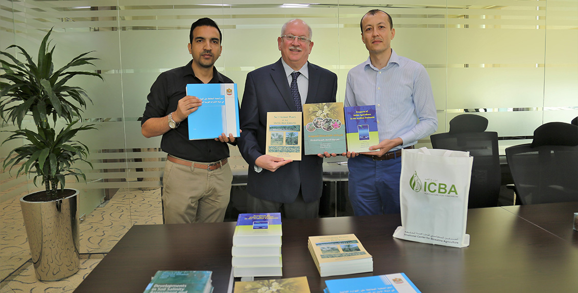 The books include titles in Arabic and English authored and co-authored by ICBA scientists and cover a wide range of subjects from soil classification to biosaline agriculture to salt-tolerant plants of the UAE.